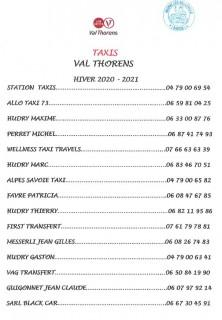 Liste des taxis vallée des Belleville