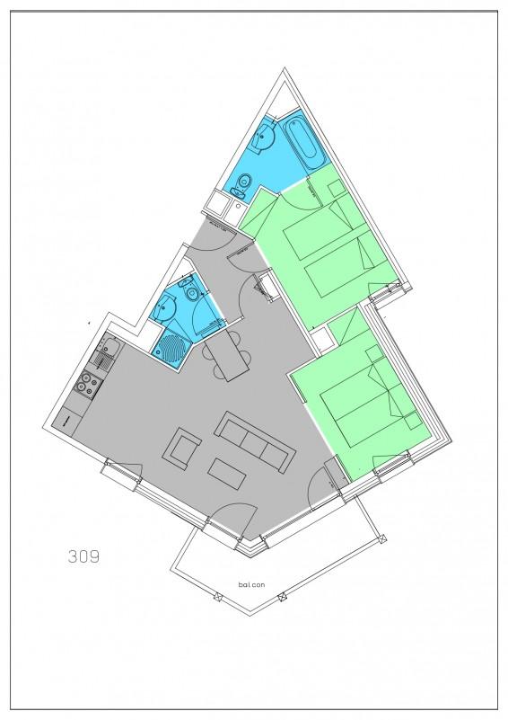 Appartement 3 pièces 4/6 personnes © Résidence Le Hameau du Kashmir