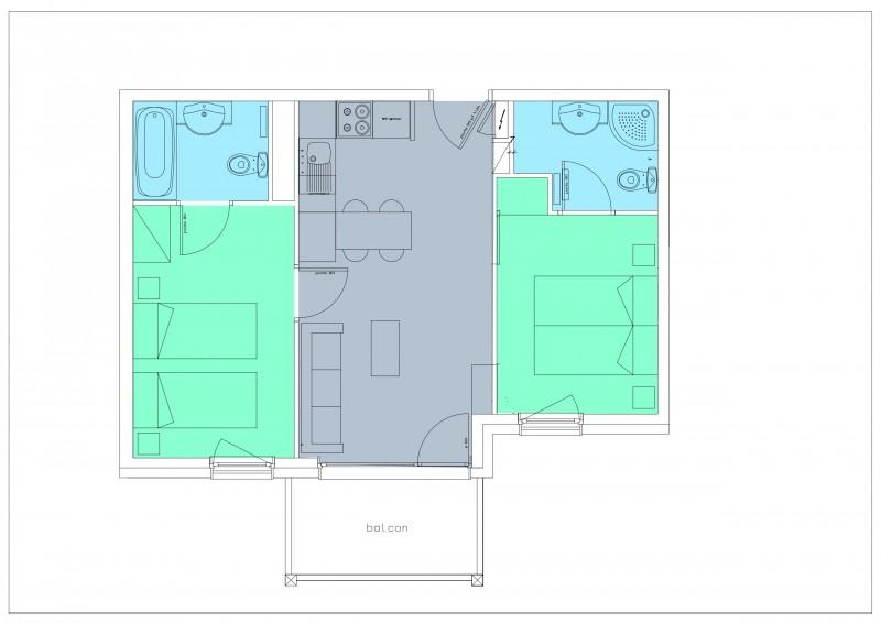 Appartement 3 pièces 4 personnes © Résidence Le Hameau du Kashmir