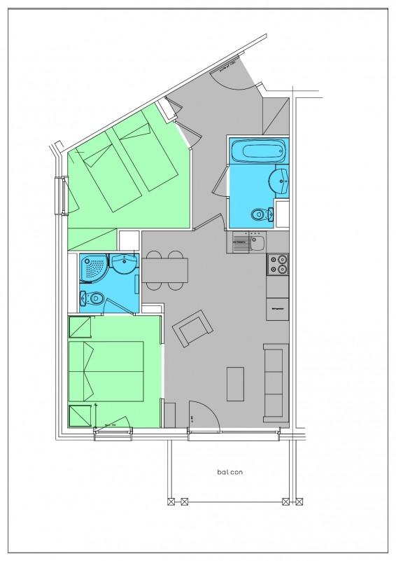 Appartement 3 pièces 4 personnes avec vue Résidence © Le Hameau du Kashmir