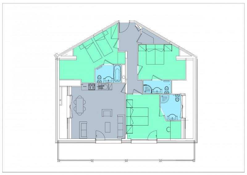 Appartement 4 pièces 6 personnes © Résidence Le Hameau du Kashmir