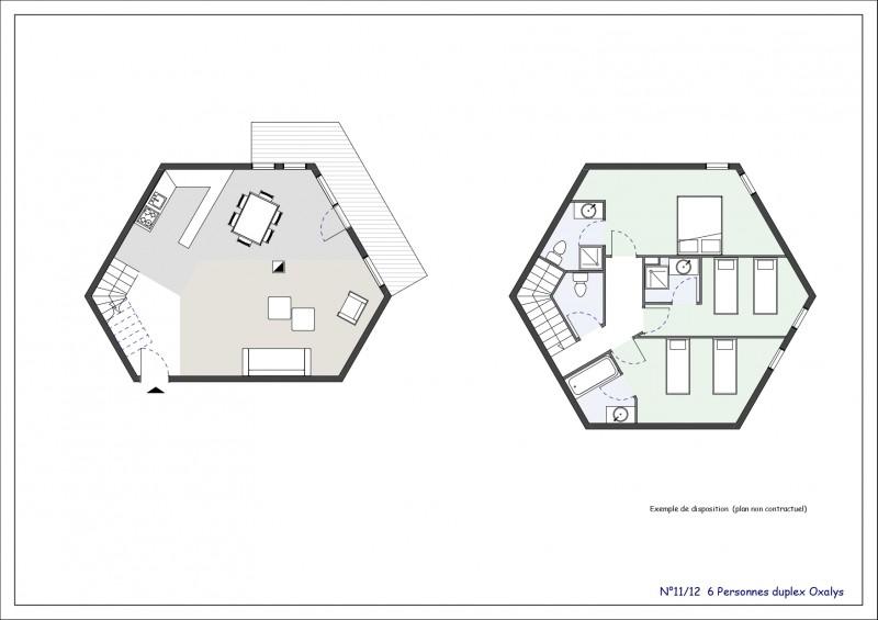 Appartement 4 pièces Duplex 6 personnes n°11  © Résidence L'Oxalys